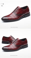 Glossy Crocodile Pattern PU Leather Pointed Oxfords Dress Shoes