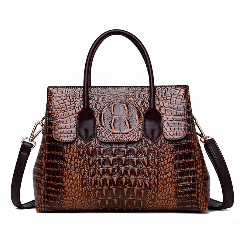 Exotic Alligator Pattern PU Zipper Casual Shoulder Bag