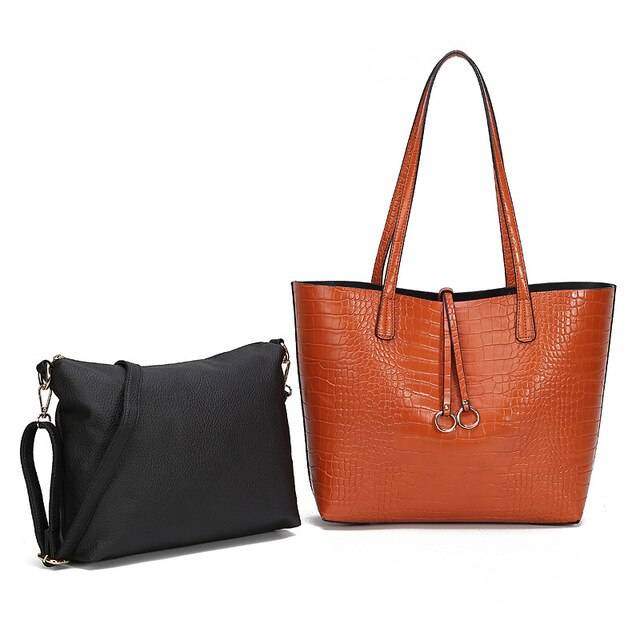 Crocodile Pattern PU Leather Tassel Decorated Large Soft Tote Shoulder Bags