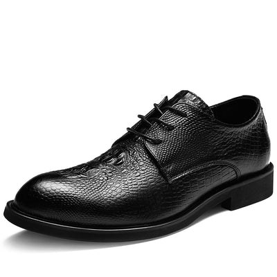 Casual Embossed Leather Derby Shoes