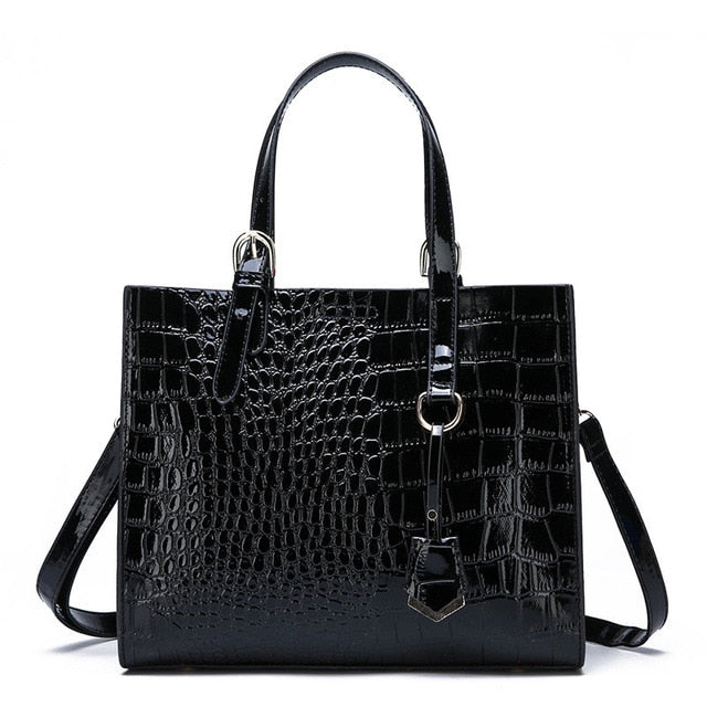 Luxury Designer Crocodile Pattern Patent Leather Big Shoulder Bags