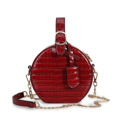 Circle Shaped Crocodile Pattern PU Leather Clutch