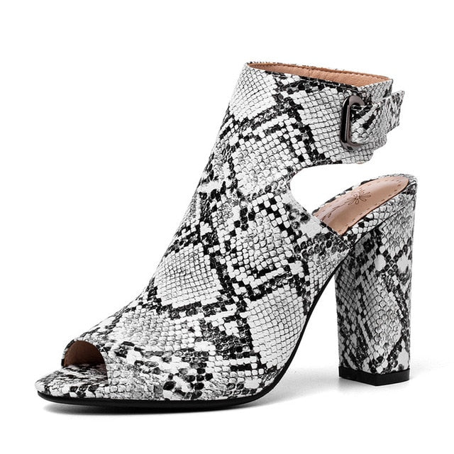 Colorful Summer Snake Skin Pattern Peep Toe Gladiator Slingback High Heels