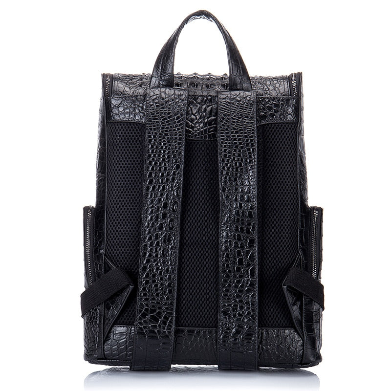Alligator Pattern Cow Leather Zipper Softback Flap Backpack