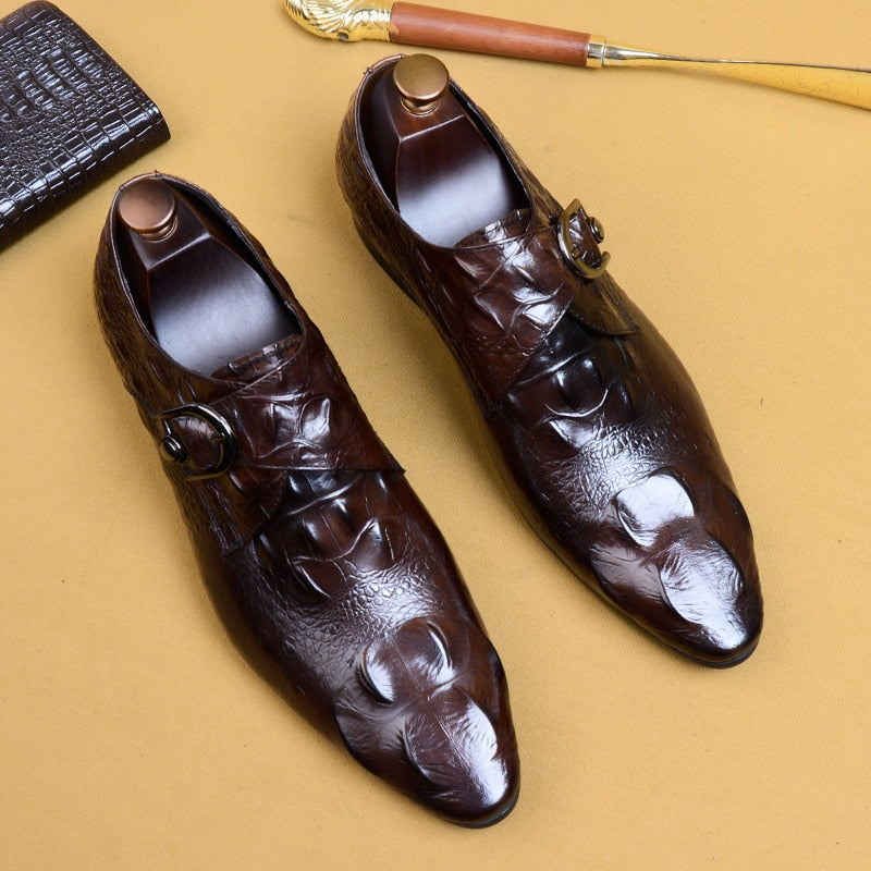 Pointed Toe Lace Up Full Grain Alligator Pattern Brogue Dress Shoes