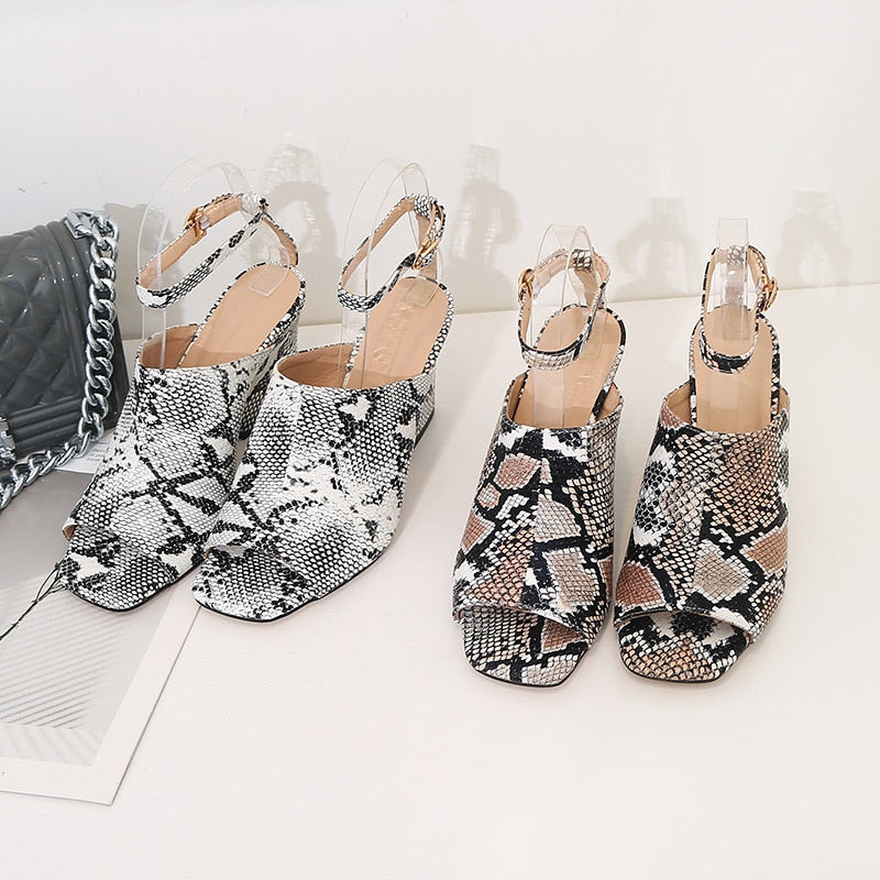 Snake Skin Pattern Summer Peep Toe Ankle Strap Gladiator High Heels