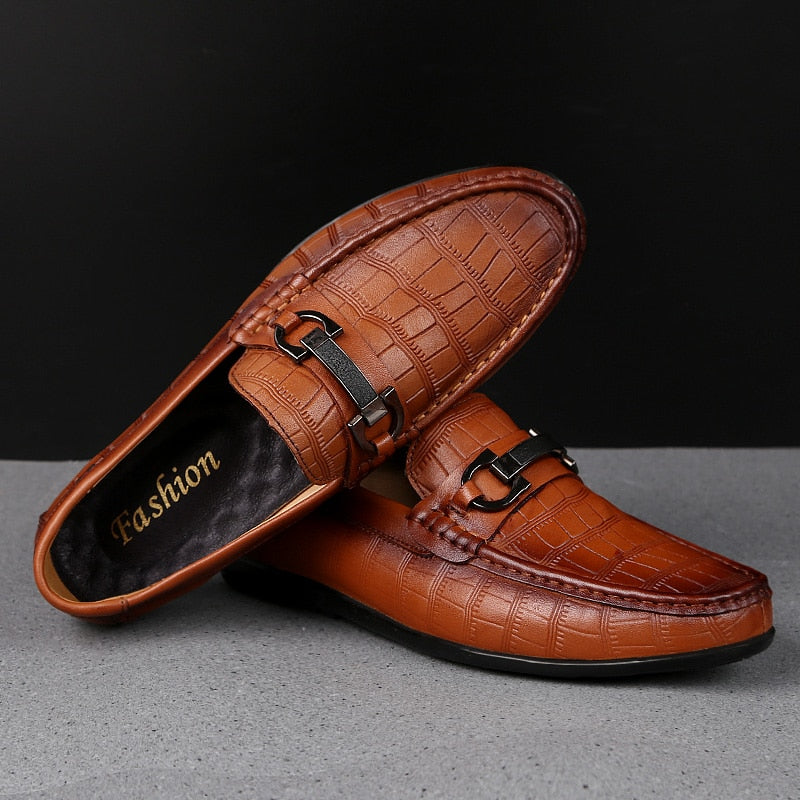 Casual Exotic Crocodile Textured Breathable Leather Driving Loafers