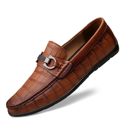 Casual Textured Leather Driving Loafers