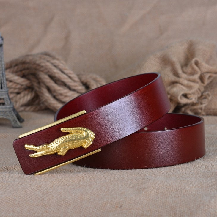 Crocodile Design Smooth Buckle Solid Pattern Cow Skin Leather Belt