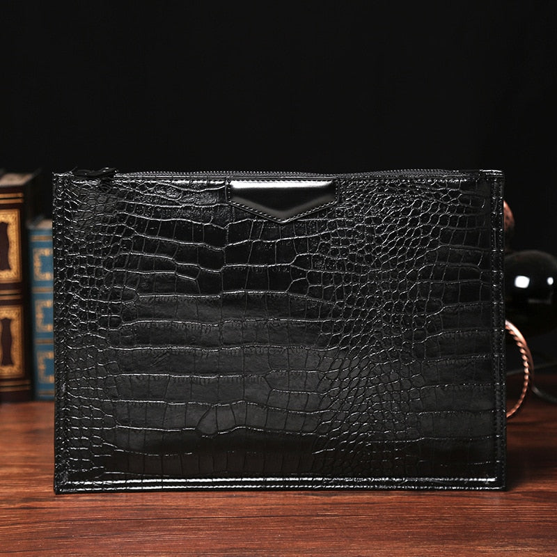 Glossy Alligator Pattern Single Handle Flap Pocket Leather Briefcase