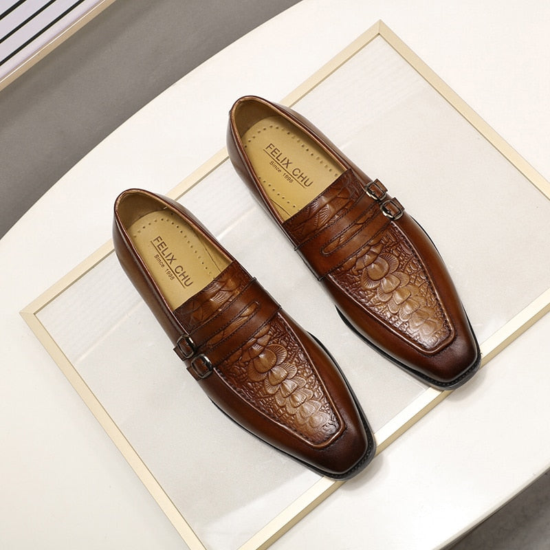Exotic Double Striped Pointed Toe Cow Leather Slip-on Loafers