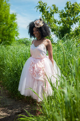 Offbeat Bridal Maxi Tutu with Floral Front - Blondie Jones