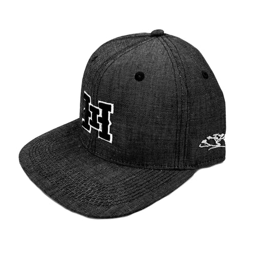 HI logo Snapback hats Black Denim