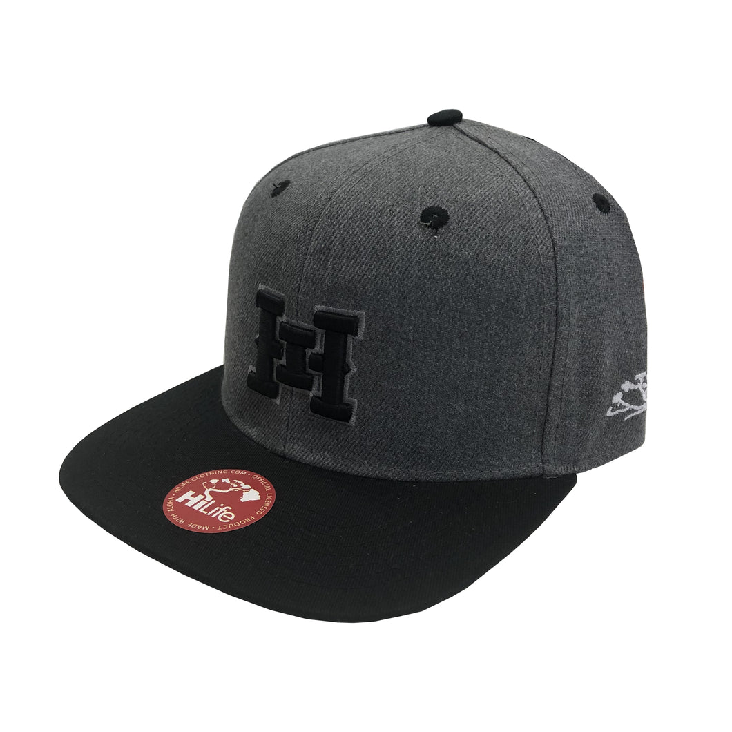 HI logo Snapback hats Dark Heather / Black