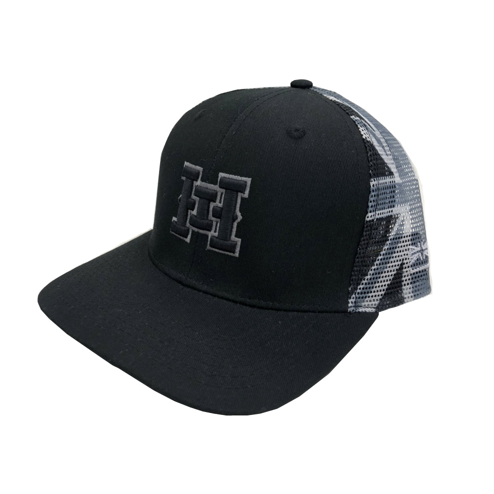 HI logo Snapback hats Hawaiian Union Flag Grayscale