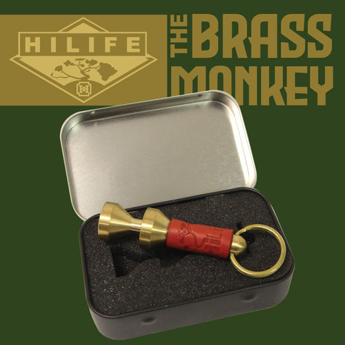 Brass Monkey EDC Bottle Opener (Red Leather)