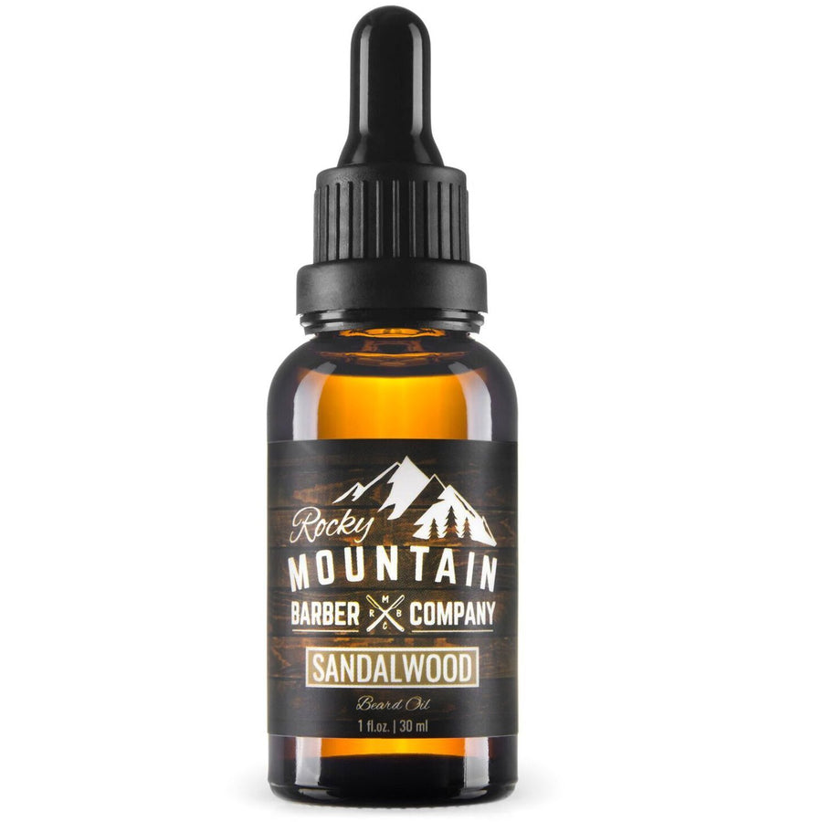 Rocky Mountain Barber Company Sandalwood Beard Oil White Background