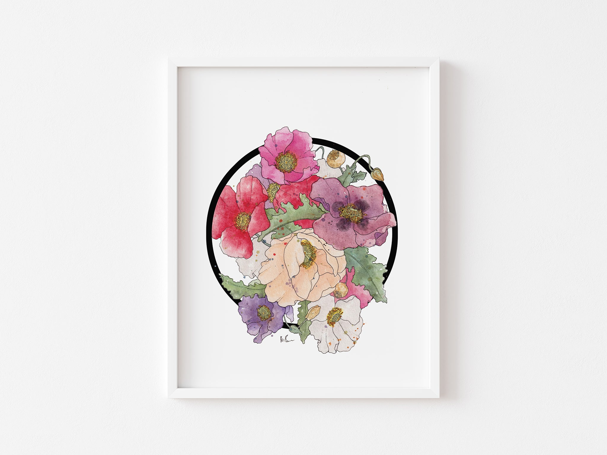 Bec Brown Clouds of Colour Poppy watercolour framed artwork