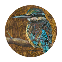 'Kotare on Timber' art print by New Zealand artist John Jepson is a circle colour art print of a Kotare New Zealand kingfisher