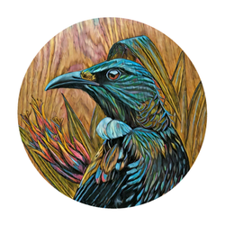 Tui in Flax on Timber art print by New Zealand artist John Jepson featuring a circle art print of a Tui among native New Zealand flax.