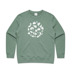 Wild Echinacea sweatshirt by NZ Artist Clouds of Colour. This sweatshirt features an art print of drawing of wild echinacea in a circular shape. This stylised echinacea artwork was beautifully hand-drawn, then scanned with colour added digitally.