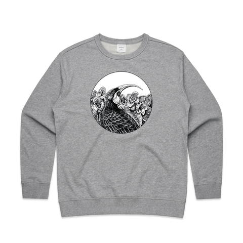 NZ doodlewear artist Kanuka Glen by John Jepson 'Huia in Charcoal' art print of a black charcoal drawing of a NZ native Huia bird in a circle shape on AS Colour grey Womens Sweatshirt