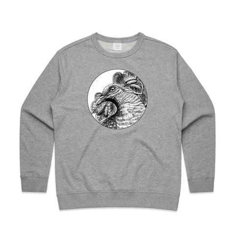 Kereru in Charcoal art print sweatshirt by New Zealand artist John Jepson featuring a circle art print of a charcoal drawn Kereru bird amongst kawakawa berries on AS Colour Grey Womens Sweatshirt
