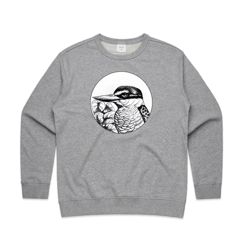 Kotare in Charcoal art print sweatshirt by New Zealand artist John Jepson featuring a circle art print of a charcoal drawn Kotare otherwise known as a New Zealand kingfisher on an AS Colour Grey Womens Sweatshirt