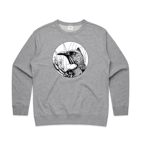 NZ doodlewear artist Kanuka Glen by John Jepson 'Tui in Flax – Charcoal' art print beautiful charcoal rendition of the boisterous Tui among native New Zealand flax on AS Colour grey Womens sweatshirt