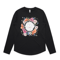 Sun Worship long sleeve t shirt by NZ Artist Clouds of Colour. This long sleeve t shirt features an art print of a modern minimalist sun in a circle surrounded by beautiful watercolour poppy flowers.