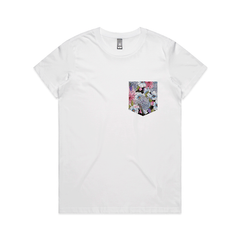 Floral Pocket art print graphic tees by NZ Artist Clouds of Colour.