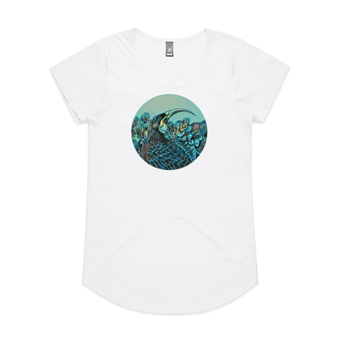 Huia in Colour by New Zealand artist John Jepson circle art print of a Huia NZ native bird in Puriri flowers on AS Colour White Mali Womens T Shirt
