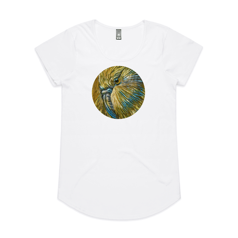 Kakapo on Timber by New Zealand artist John Jepson circle art print of a Kakapo New Zealand owl parrot on timber background on AS Colour white mali womens t shirt