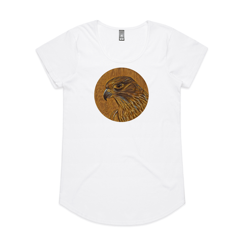 Karearea on Timber art print by New Zealand artist John Jepson of a circle Karearea New Zealand falcon on timber on an AS Colour white mali womens t shirt