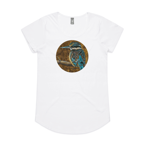 'Kotare on Timber' art print by New Zealand artist John Jepson is a circle colour art print of a Kotare New Zealand kingfisher on a branch on an AS Colour Mali white womens t shirt