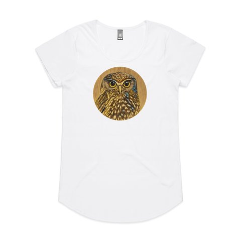 Ruru on Timber art print t shirt by New Zealand artist John Jepson. This t shirt features a beautiful circle art print of a Ruru NZ native owl with a wood background on AS Colour White Mali Womens t shirt