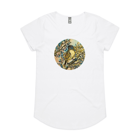 'Toutouwai in Colour' art print t shirt by New Zealand artist John Jepson featuring a circle of an NZ endemic toutouwai bird sitting on a branch on an AS Colour white Mali womens t shirt