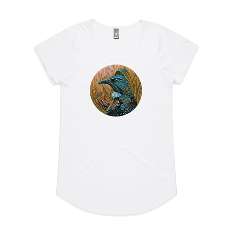 Tui in Flax on Timber art print t shirt by New Zealand artist John Jepson featuring a circle art print of a Tui among native New Zealand flax on an AS Colour white mali womens t shirt