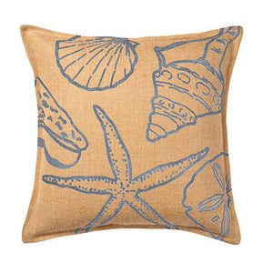 Eco-Accents Blue Shell Print Burlap Cushion
