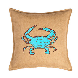 Crab Burlap Pillow 20""