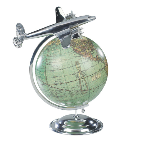 On Top Of The World Globe with Miniature Plane