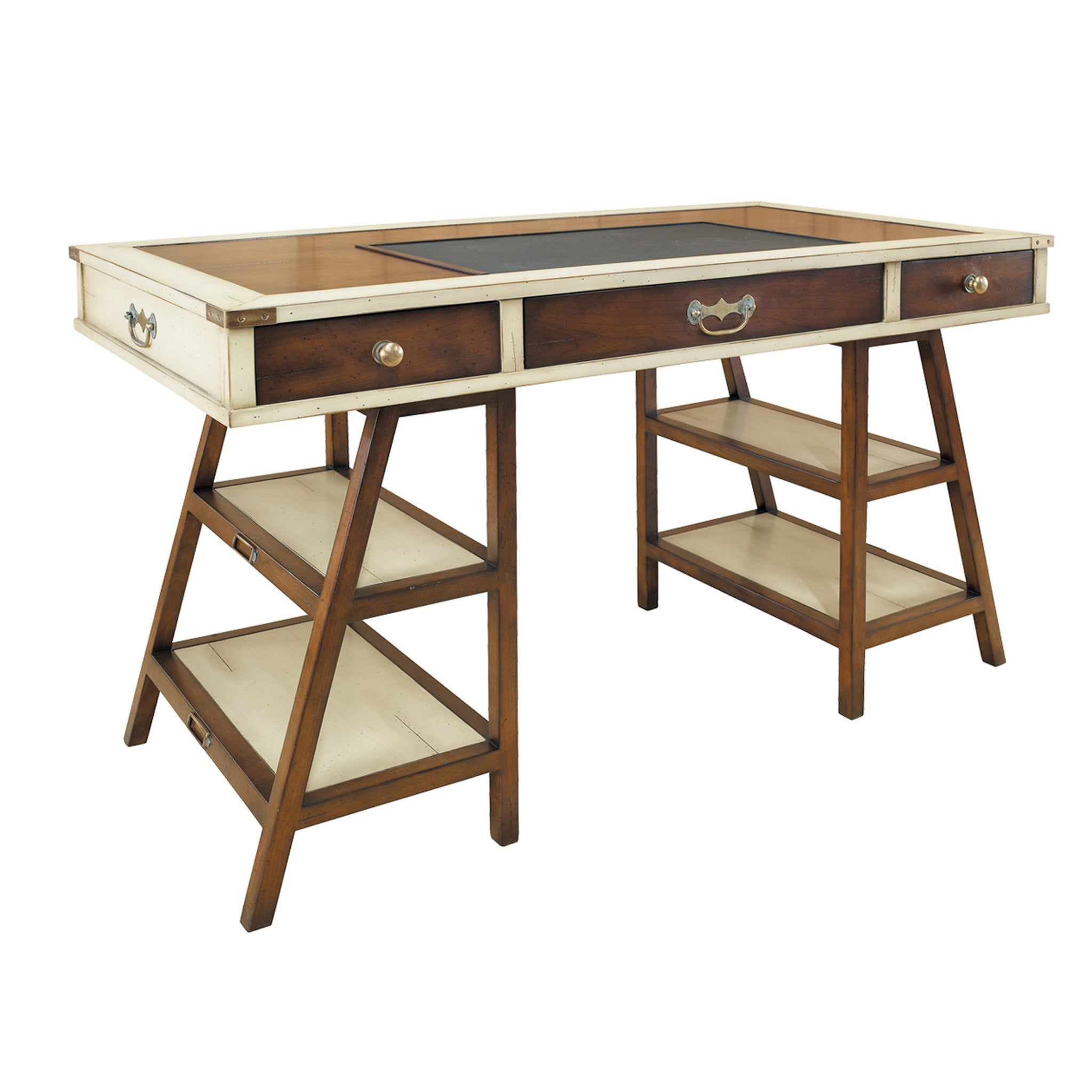 Navigator's Solid Timber Desk, Ivory with Distressed Honey French Finish