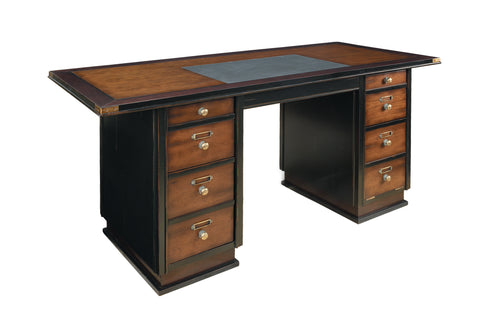 Captain's Solid Timber Desk, Black Honey Distressed French Finish