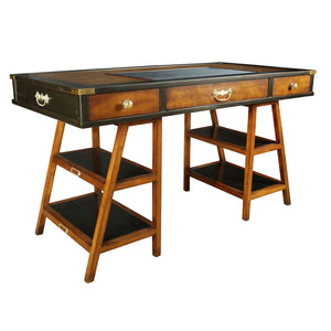 Navigator's Solid Timber Desk, Black with Distressed Honey French Finish