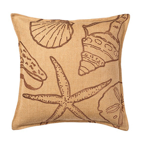 Eco-Accents Brown Shell Print Burlap Cushion