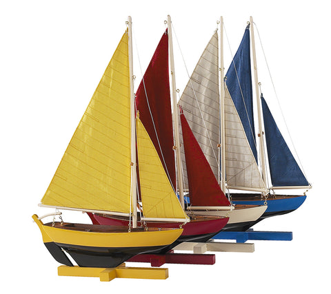 Set of 4 Sunset Sailers Decorative Model Yachts