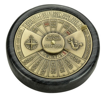 Nautical Solid Brass 50 Year Perpetual Calendar on Marble Base
