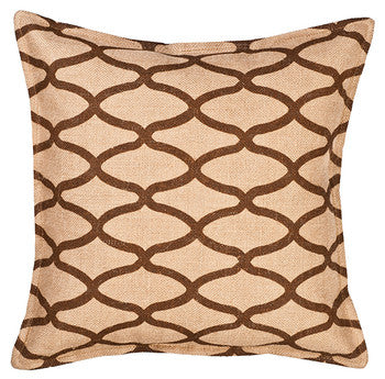 Eco-Accents Geometric Oval Brown Burlap Cushion