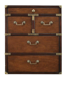 Campaign Timber Chest of 5 Drawers, Honey