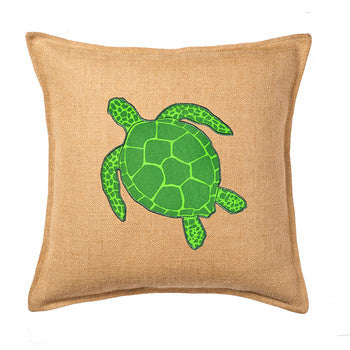 Eco-Accents Burlap Turtle Cushion, Green